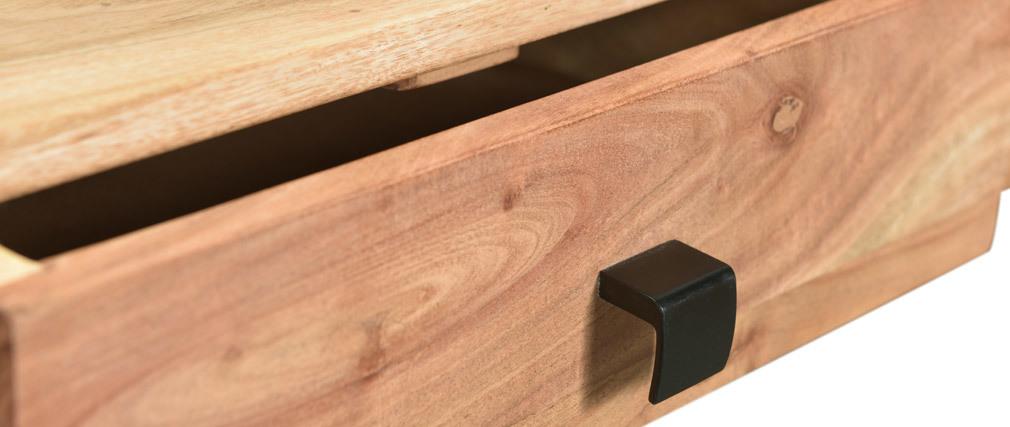 Console 2 tiroirs en acacia massif et métal GRENELLE