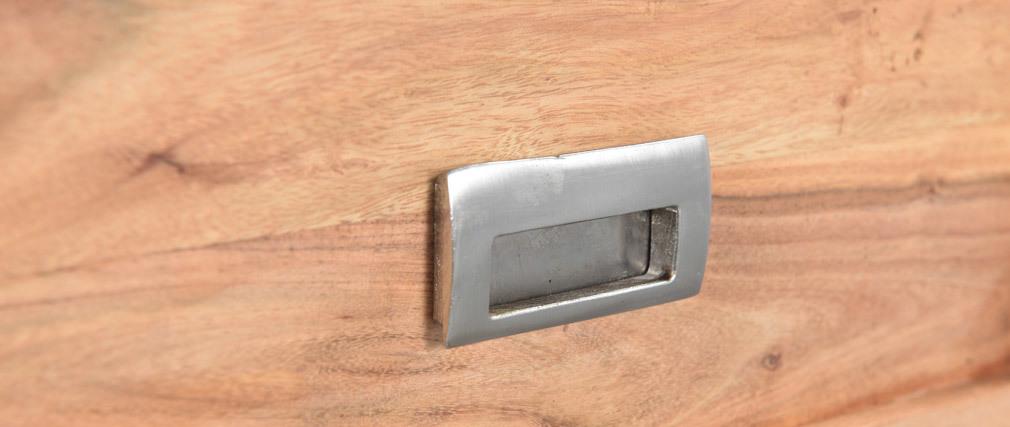 Console 2 tiroirs en acacia massif et métal noir L81 cm EDITION