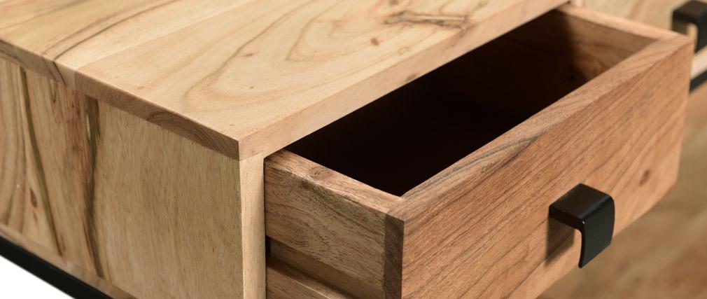 Console 4 tiroirs en acacia et métal noir GRENELLE