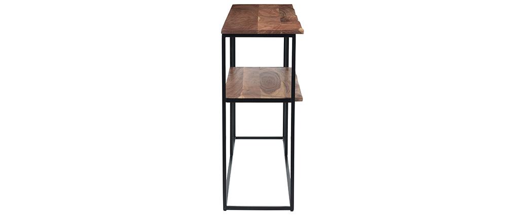 Console avec étagère en acacia massif et métal noir LOCK