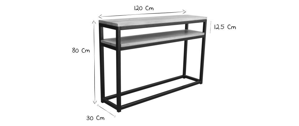 Console avec étagère en manguier massif et métal noir 120 cm FACTORY