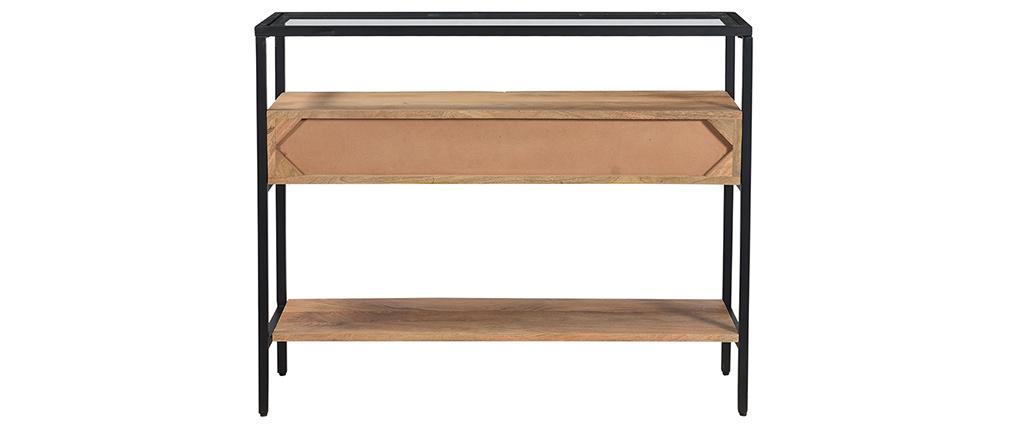 Console avec plateau verre et tiroirs en manguier massif L100 cm SITA
