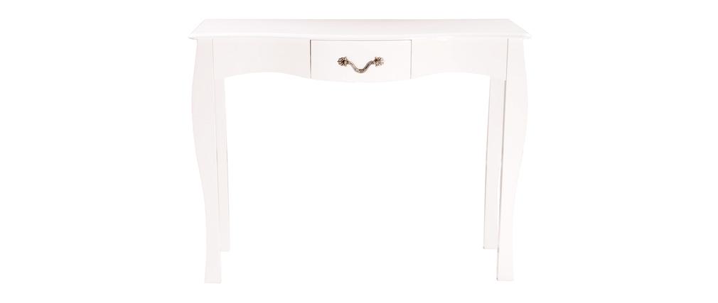 Console baroque blanche 1 tiroir 102 cm louisa miliboo - Console blanche baroque ...