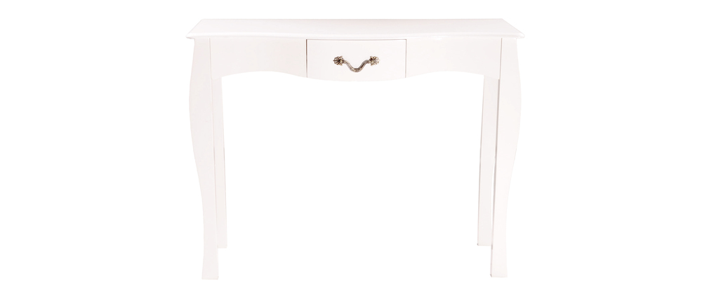 console baroque blanche 1 tiroir 102 cm louisa miliboo. Black Bedroom Furniture Sets. Home Design Ideas