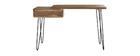 Console bureau en acacia massif et métal noir L120 cm PINA