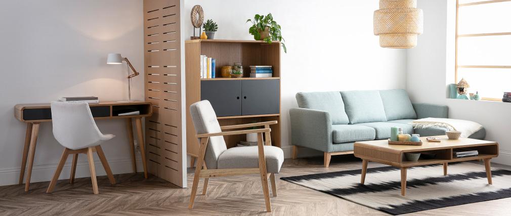 Console-bureau scandinave chêne clair et gris COPENHAGUE