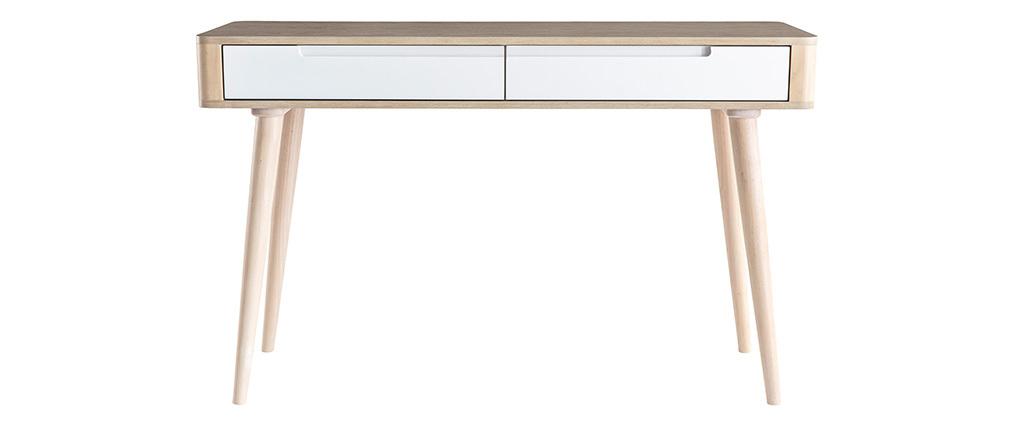 Console-bureau scandinave frêne clair et blanc GOTLAND