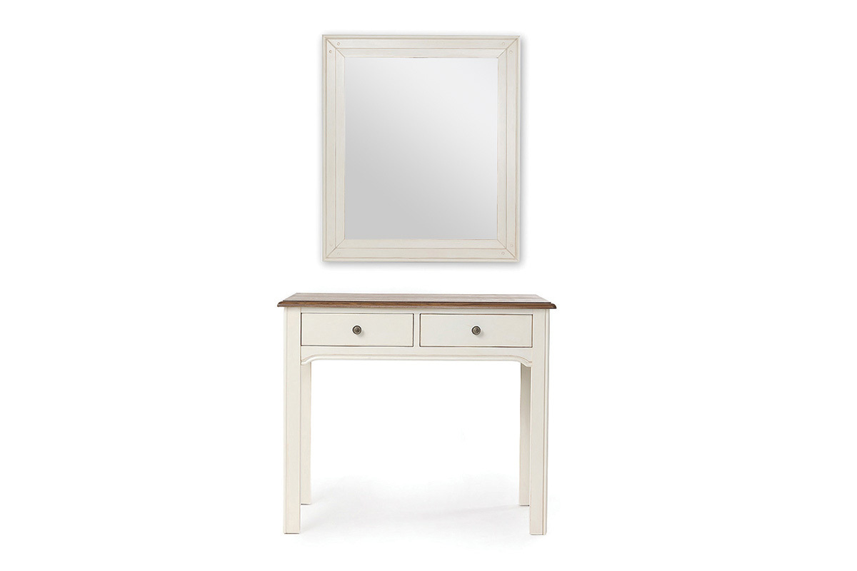 console coiffeuse avec miroir baroque blanc cass gustave. Black Bedroom Furniture Sets. Home Design Ideas