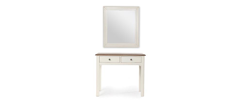 Console/coiffeuse avec miroir baroque blanc cassé GUSTAVE