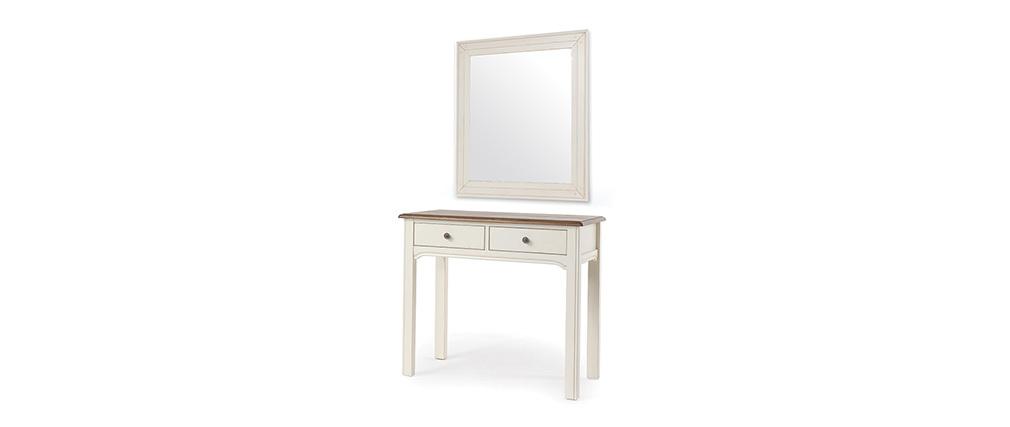 Console coiffeuse avec miroir baroque blanc cass gustave for Miroir casse