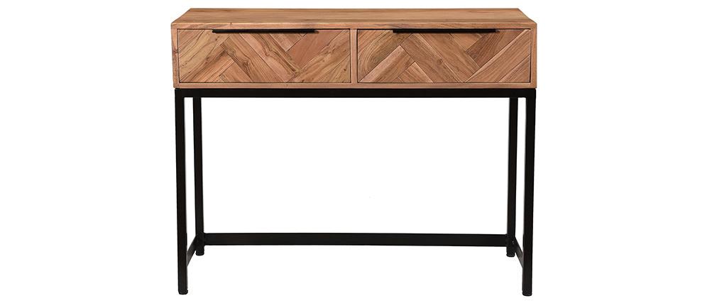 Console en acacia et métal noir 2 tiroirs STICK