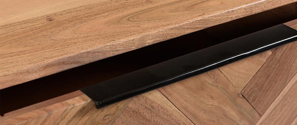 Console en acacia massif et métal noir 2 tiroirs L100 cm STICK