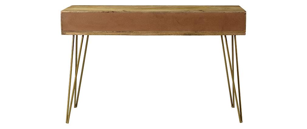 Console gravée en manguier et métal doré LINIUM