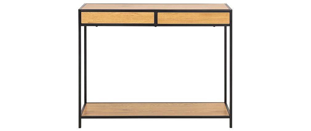 Console industrielle 2 tiroirs en métal et bois L100 cm TRESCA