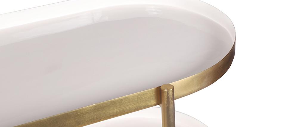 Console laquée blanche et métal brossé doré ZURIA