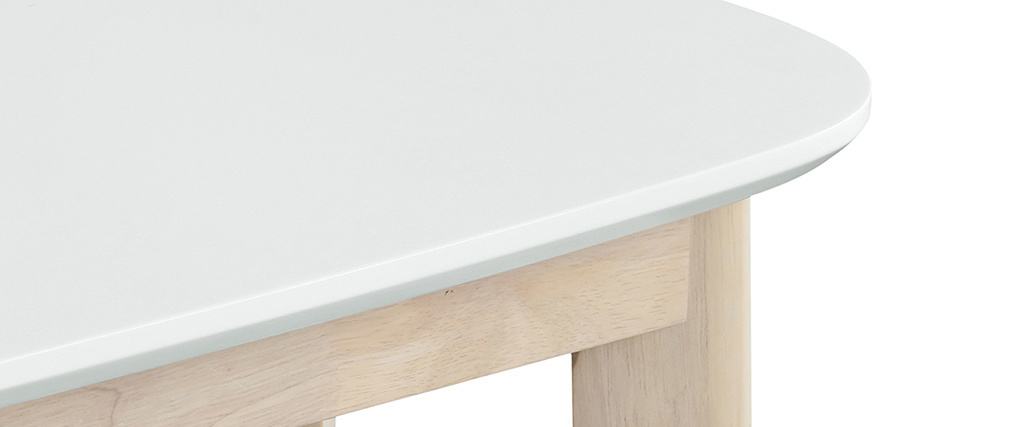 Console scandinave blanc et bois clair LEENA