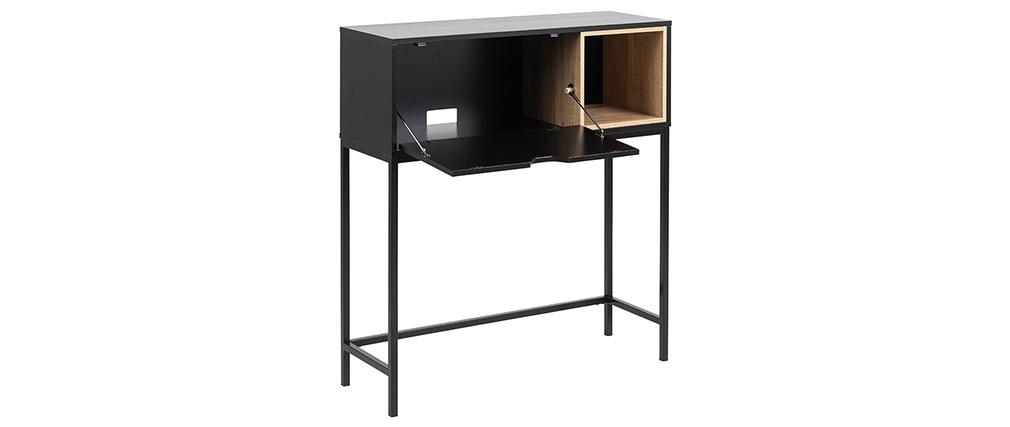 Console secrétaire industrielle bois et métal YSTE