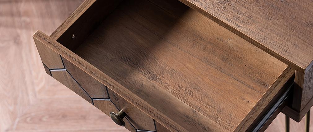 Console vintage 3 tiroirs bois et métal doré BEES