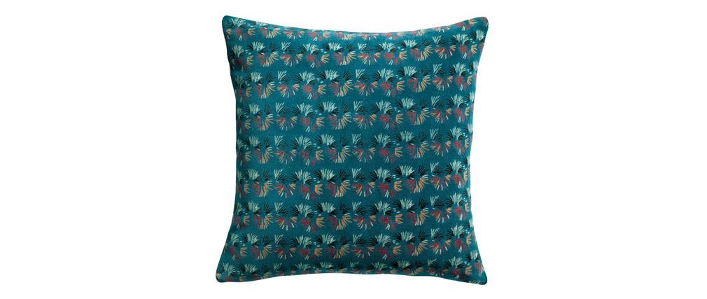 Coussin à motifs velours bleu 45 x 45 cm PAON