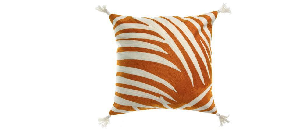Coussin brodé en coton avec pompons orange 45 x 45 cm ZEBRA