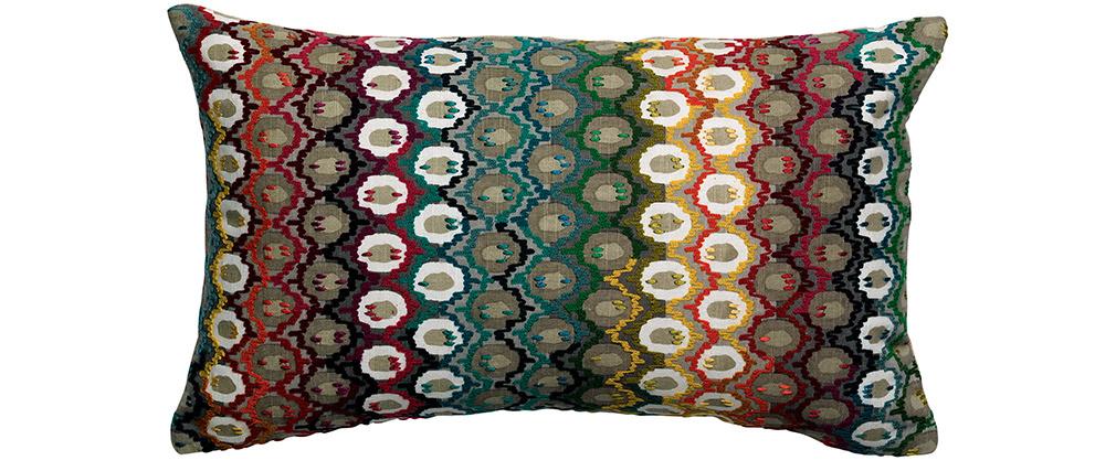 Coussin brodé en coton motif multicolore 30 x 50 cm CAPRI