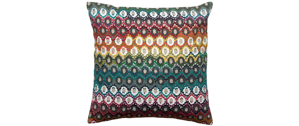 Coussin brodé en coton motif multicolore 45 x 45 cm CAPRI
