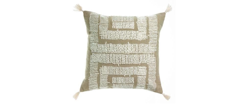 Coussin brodé en coton  naturel et blanc 45 x 45 cm COCO