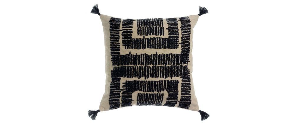 Coussin brodé en coton naturel et noir 45 x 45 cm COCO