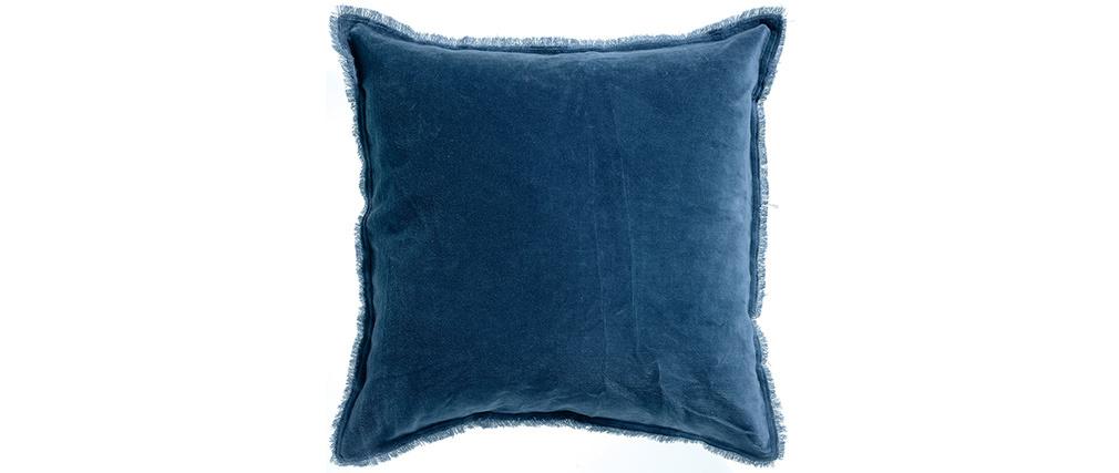 Coussin carré en velours bleu foncé 45 x 45 PESCA