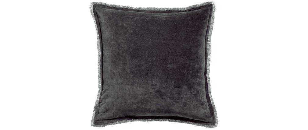 Coussin carré en velours gris ardoise 45 x 45 PESCA