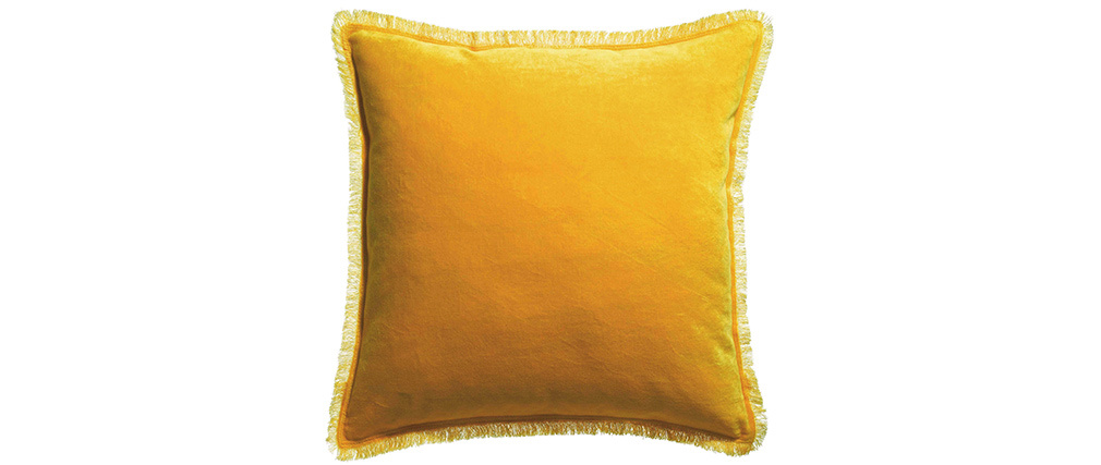 Coussin carré en velours jaune curry 45 x 45 PESCA
