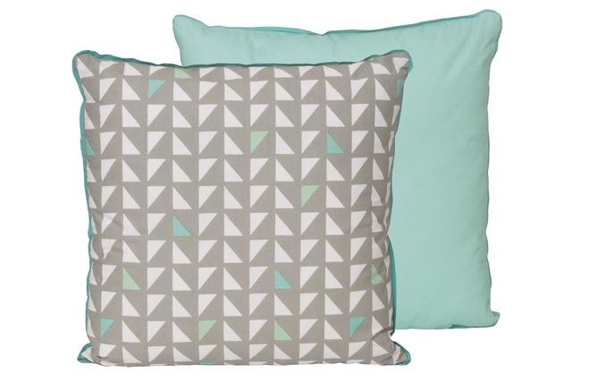 Coussin design coton gris et vert menthe 45x45cm badoe - Coussin vert menthe ...