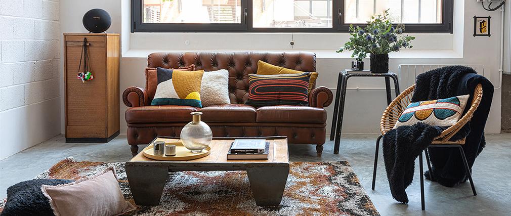 Coussin en coton avec motif brodé 30 x 50 cm SANA