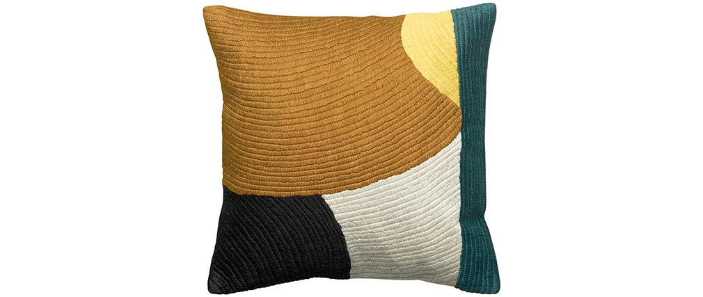 Coussin en coton avec motif brodé 45 x 45 cm SANA