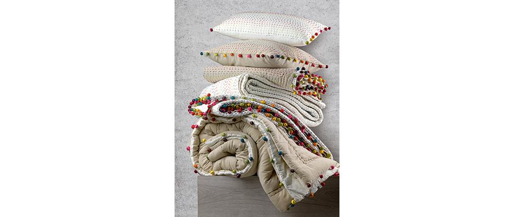 Coussin en coton avec pompons multicolores 30 x 50 cm FILEA