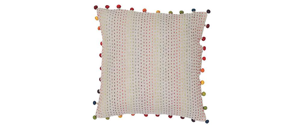 Coussin en coton avec pompons multicolores 45 x 45 cm FILEA