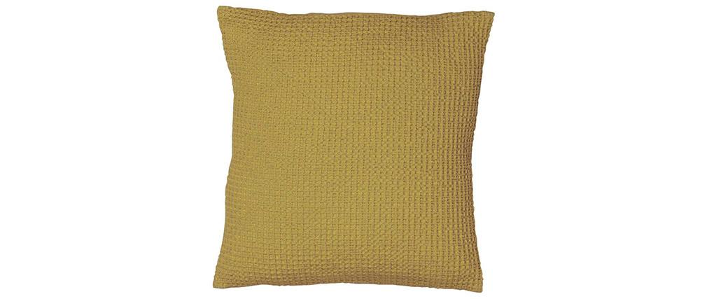Coussin en coton lavé anis 45 x 45 cm YAM