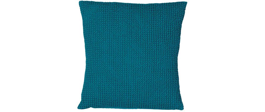 Coussin en coton lavé bleu topaze 45 x 45 cm YAM