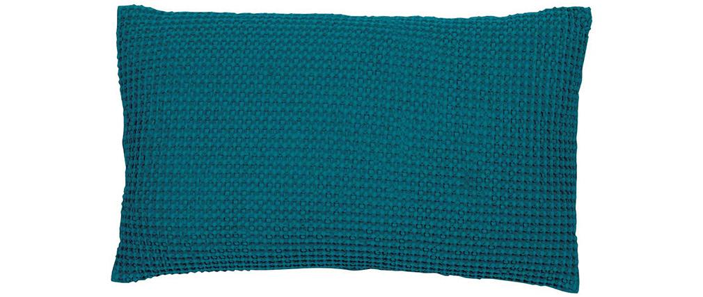 Coussin en coton lavé couleur bleu topaze 30 x 50 cm YAM