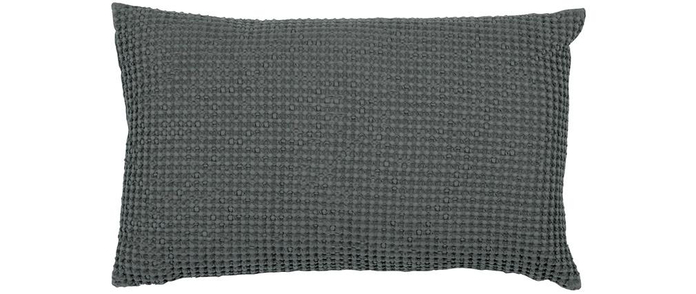Coussin en coton lavé gris 30 x 50 cm YAM