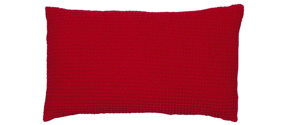 Coussin en coton lavé rouge 30 x 50 cm YAM