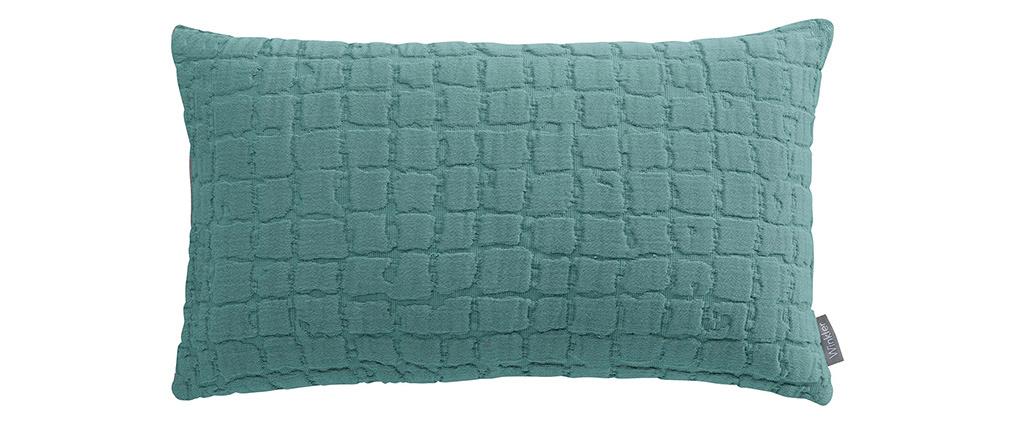 Coussin en coton texturé bleu glacier 30 x 50 cm WAFLE