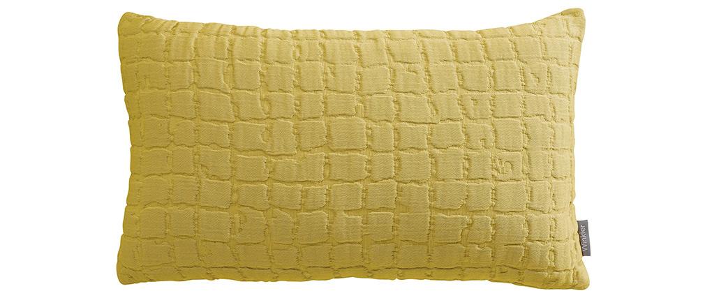 Coussin en coton texturé jaune 30 x 50 cm WAFLE