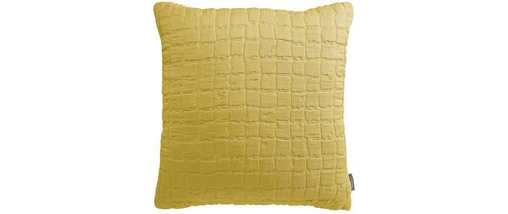 Coussin en coton texturé jaune 45 x 45 cm WAFLE