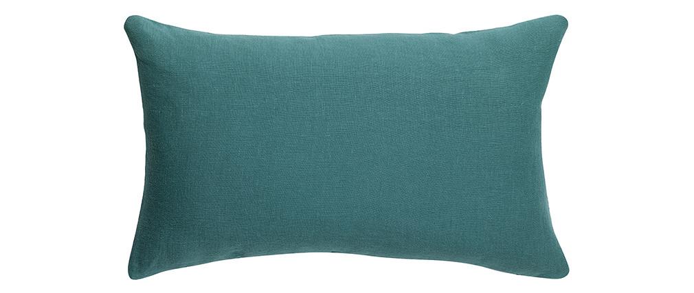 Coussin en lin bleu canard 30 x 50 cm LINEN