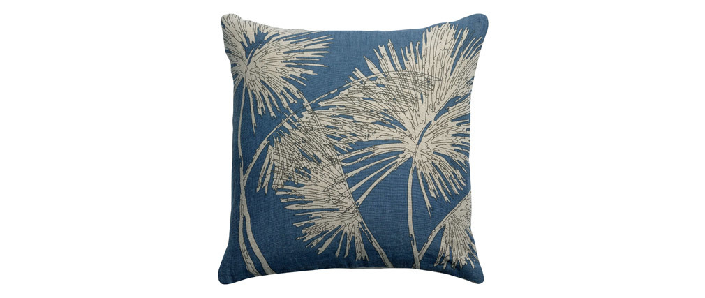 Coussin en lin bleu motif palmier 45 x 45 cm NATURA