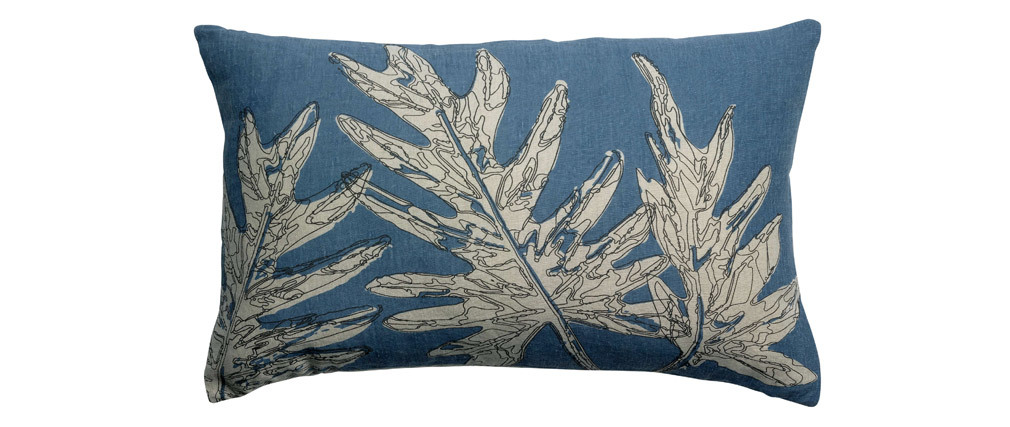 Coussin en lin bleu motifs feuillages 50 x 30 cm NATURA