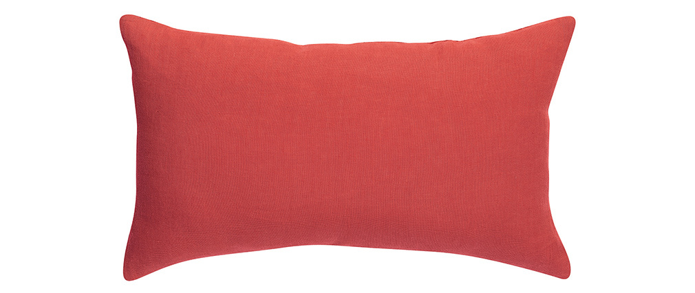 Coussin en lin corail 30 x 50 cm LINEN