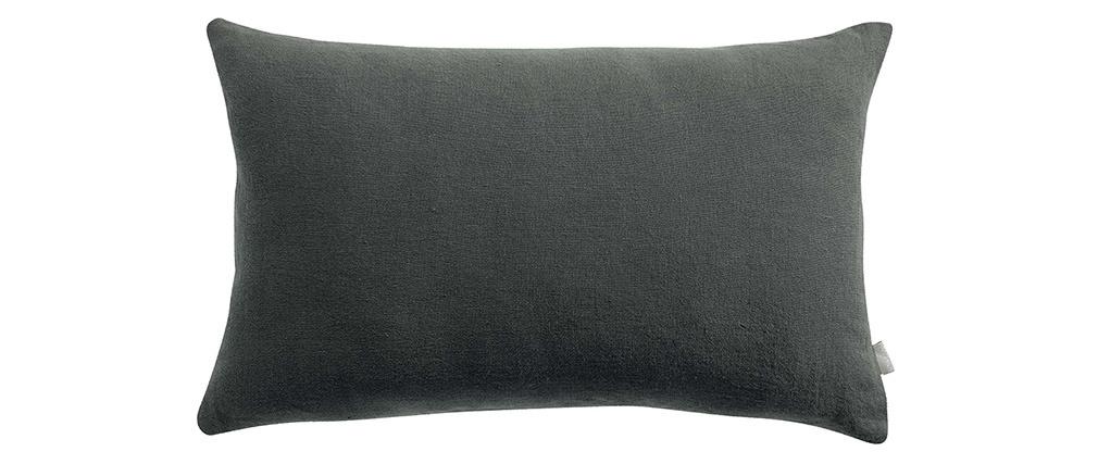 Coussin en lin gris foncé 30 x 50 cm LINEN