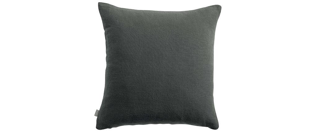 Coussin en lin gris foncé 45 x 45 cm LINEN